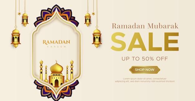 Modèle de bannière de vente réaliste ramadan kareem
