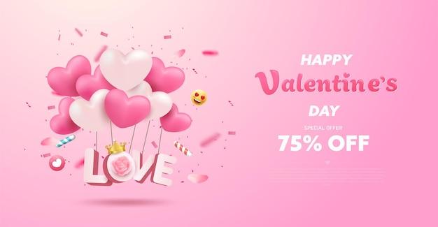 Modèle de bannière de vente saint valentin avec des coeurs