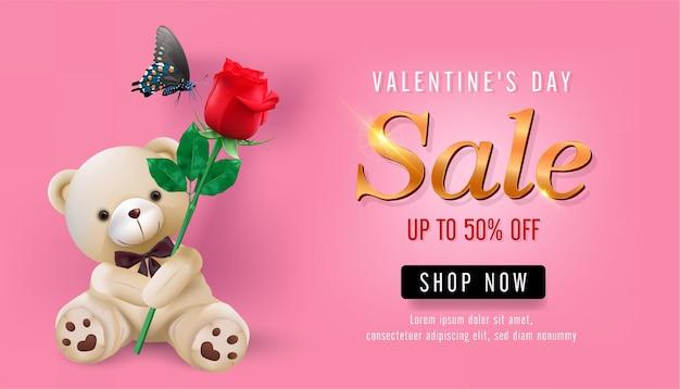 Modèle de bannière de vente saint valentin. promotion de remise de magasin de la saint-valentin avec ours en peluche tenir des éléments roses sur fond rose. .