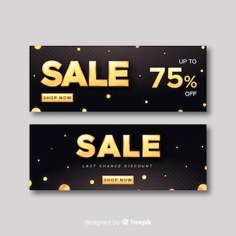 Modèle de bannière de vente en style doré