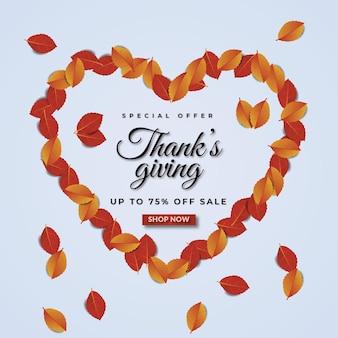 Modèle de bannière de vente thanks giving avec des feuilles qui constituent un cœur et offre spéciale jusqu'à 75% de réduction sur le vecteur premium de vente