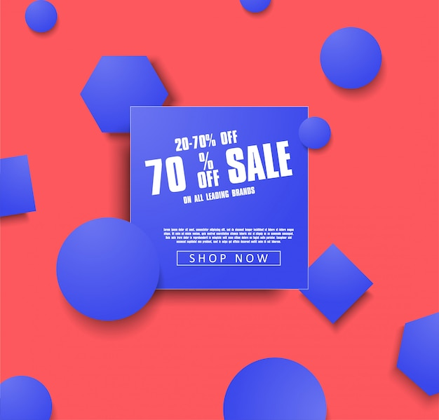Modèle de bannière vente vector illustration avec des objets bleus sur fond corail. ventes