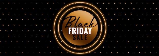 Modèle de bannière de vente vendredi noir doré
