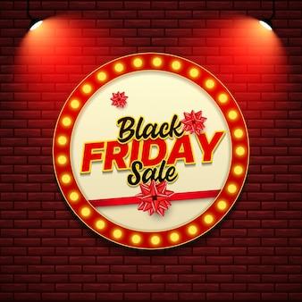 Modèle de bannière de vente vendredi noir avec style de signe rétro