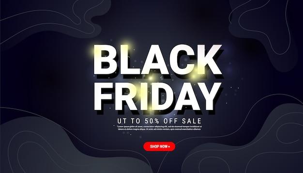 Modèle de bannière de vente vendredi noir avec texte, forme liquide sur fond sombre