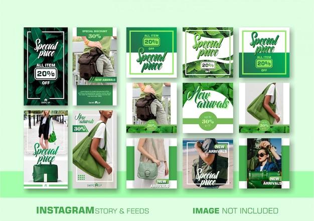Modèle de bannière de vente vert