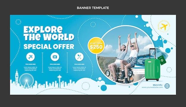 Modèle de bannière de vente de voyage design plat
