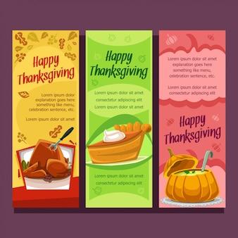 Modèle de bannière verticale de dessin animé thanksgiving plat