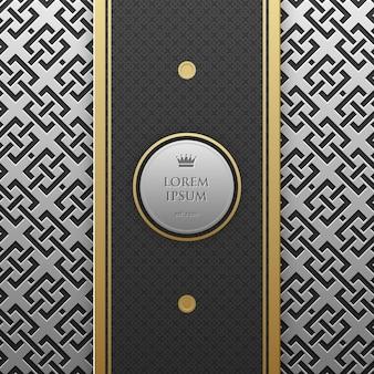 Modèle de bannière verticale sur fond métallique argent / platine avec motif géométrique sans soudure