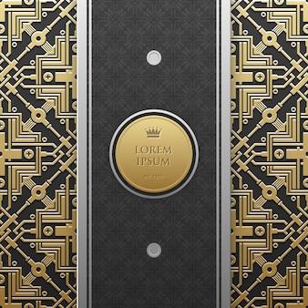 Modèle de bannière verticale sur fond métallique doré avec un motif géométrique homogène. élégant style de luxe.