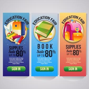 Modèle de bannière verticale de trois vacances scolaires pour site web
