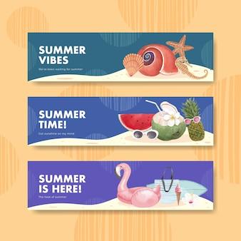 Modèle de bannière avec des vibrations estivales