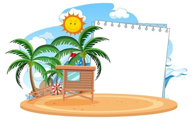 Modèle de bannière vide avec élément de plage d'été isolé