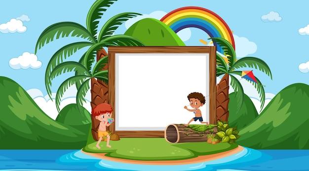 Modèle de bannière vide avec des enfants en vacances sur la scène de jour de la plage