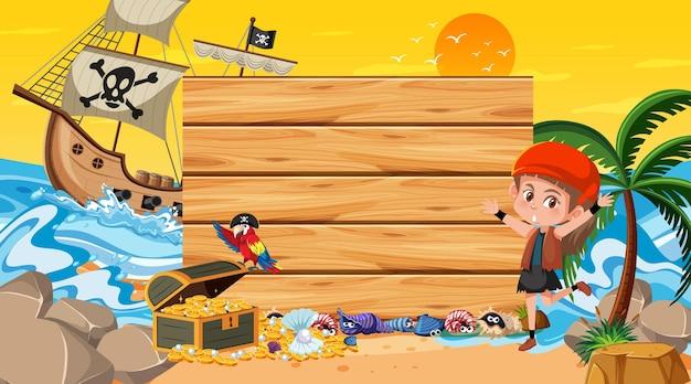 Modèle de bannière vide avec une fille pirate sur la scène du coucher du soleil sur la plage