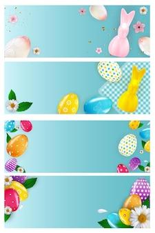 Modèle de bannière vide de pâques sertie d'oeufs de pâques réalistes 3d et de peinture.