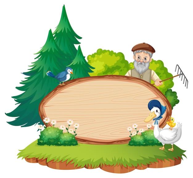 Modèle de bannière vide avec un vieil homme fermier dans la scène de jardin isolée