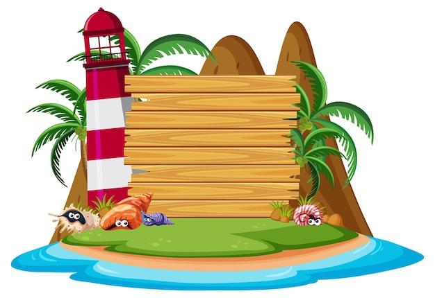 Modèle de bannière vierge sur l'île avec phare isolé