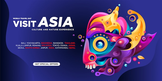 Modèle de bannière de visite asiatique pour la journée mondiale du voyage
