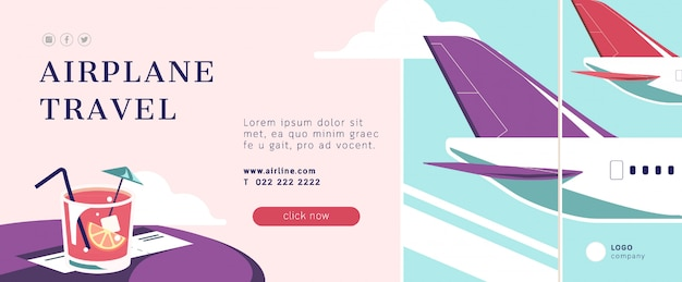 Modèle de bannière de voyage avion
