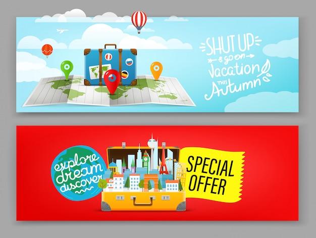 Modèle de bannière de voyage, bannière publicitaire