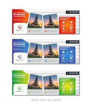 Modèle de bannière de voyages voyages, ensemble de gradient de publicité horizontale entreprise bannière mise en page modèle.