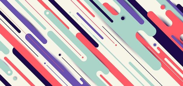 Modèle de bannière web abstrait lignes arrondies dynamiques fond géométrique motif diagonal avec un espace pour votre texte.