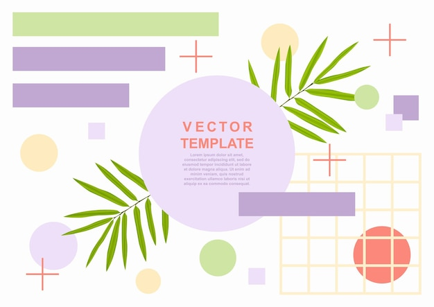Modèle de bannière web d'art d'été avec des feuilles de palmier et des objets grométriques
