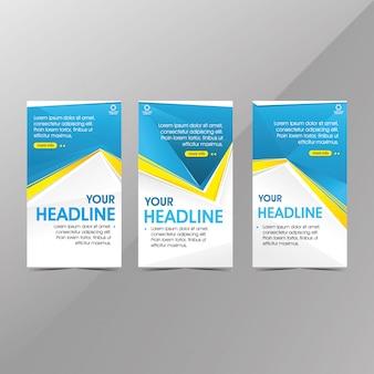 Modèle de bannière web bleu moderne, bannières de promotion vente discount