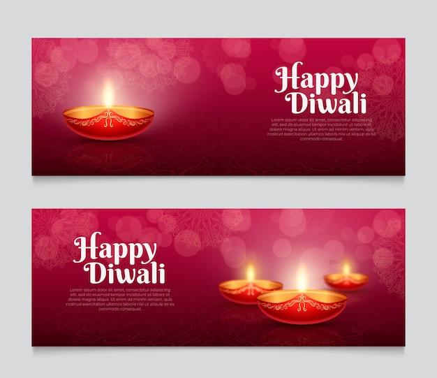 Modèle de bannière web bougies diwali