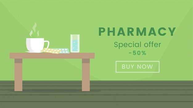 Modèle de bannière web boutique pharmacie. vente de produits pharmaceutiques, remise de 50%, concept d'affiche publicitaire. fournitures médicales, illustration plate de médicaments avec typographie