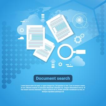 Modèle de bannière web avec un concept de recherche de documents dans l'espace de copie