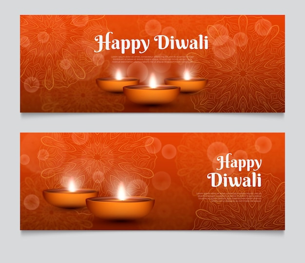 Modèle de bannière web diwali éclaircir les bougies