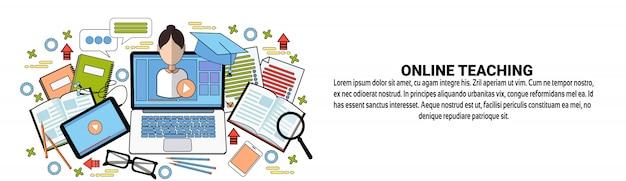 Modèle de bannière web d'enseignement en ligne concept d'éducation elearning
