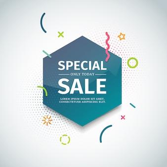 Modèle de bannière web avec forme géométrique et particule. figure hexagonale avec élément de décoration abstraite à vendre et affiche publicitaire. .