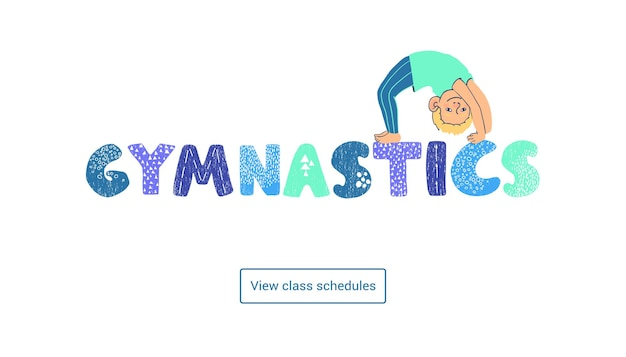 Modèle de bannière web horizontale colorée de vecteur cours de gymnastique pour enfants