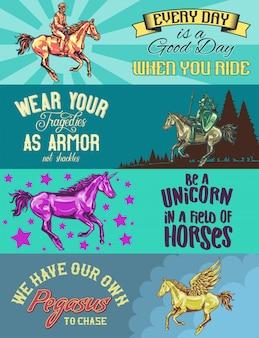 Modèle de bannière web avec des illustrations de pégase, licorne, chevalier et jokey sur les chevaux.