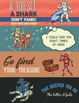 Modèle de bannière web avec des illustrations de plongeur avec un requin, une pieuvre, un autre plongeur et une ancre.