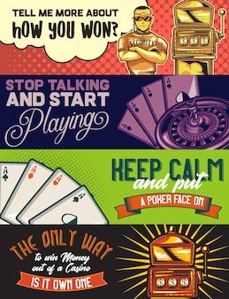 Modèle de bannière web avec des illustrations d'un policier, d'un casino, de cartes pocker et d'une machine à sous.