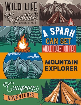 Modèle de bannière web avec des illustrations d'un tant, feu de camp, forêt et rochers.