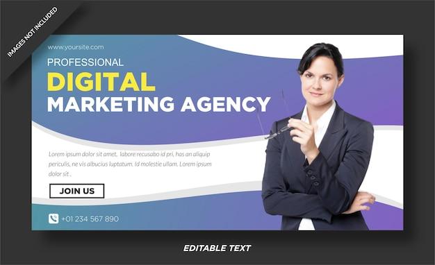 Modèle de bannière web et de médias sociaux pour agence de marketing numérique