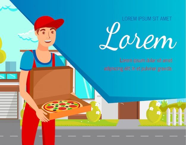 Modèle de bannière web plat avec service de livraison de nourriture