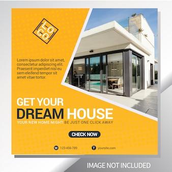 Modèle de bannière web pour la vente immobilière