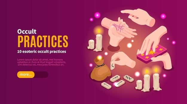 Modèle de bannière web de pratiques occultes isométriques
