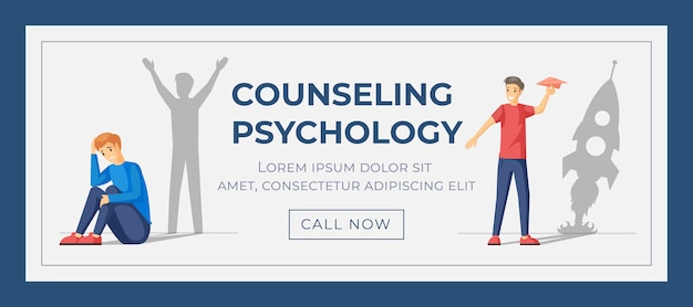 Modèle de bannière web psychologie du counseling. concept de traitement de la dépression et de croissance personnelle.
