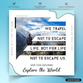 Modèle de bannière web de publication instagram d'explorateurs de voyage