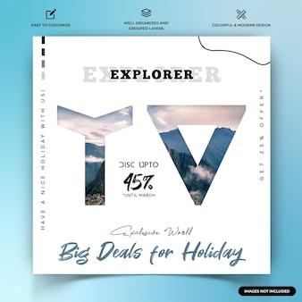 Modèle De Bannière Web De Publication Instagram D'explorateurs De Voyage Vecteur Premium