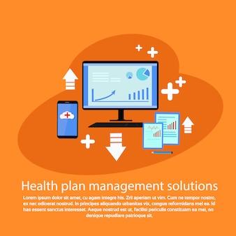 Modèle de bannière web avec solutions de gestion de plans de santé avec espace de copie