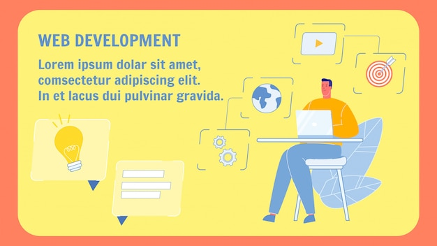 Modèle de bannière web web développement vector plate