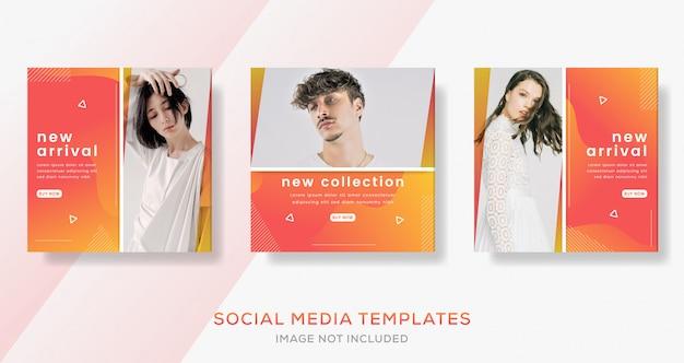 Modèle de bannières abstraites avec dégradé de couleur pour les médias sociaux. poste de vente de mode.